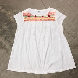 crown & ivy Embroidered White Tee
